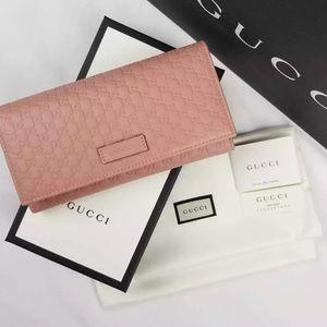NWT Gucci Guccissima Continental Pink Wallet